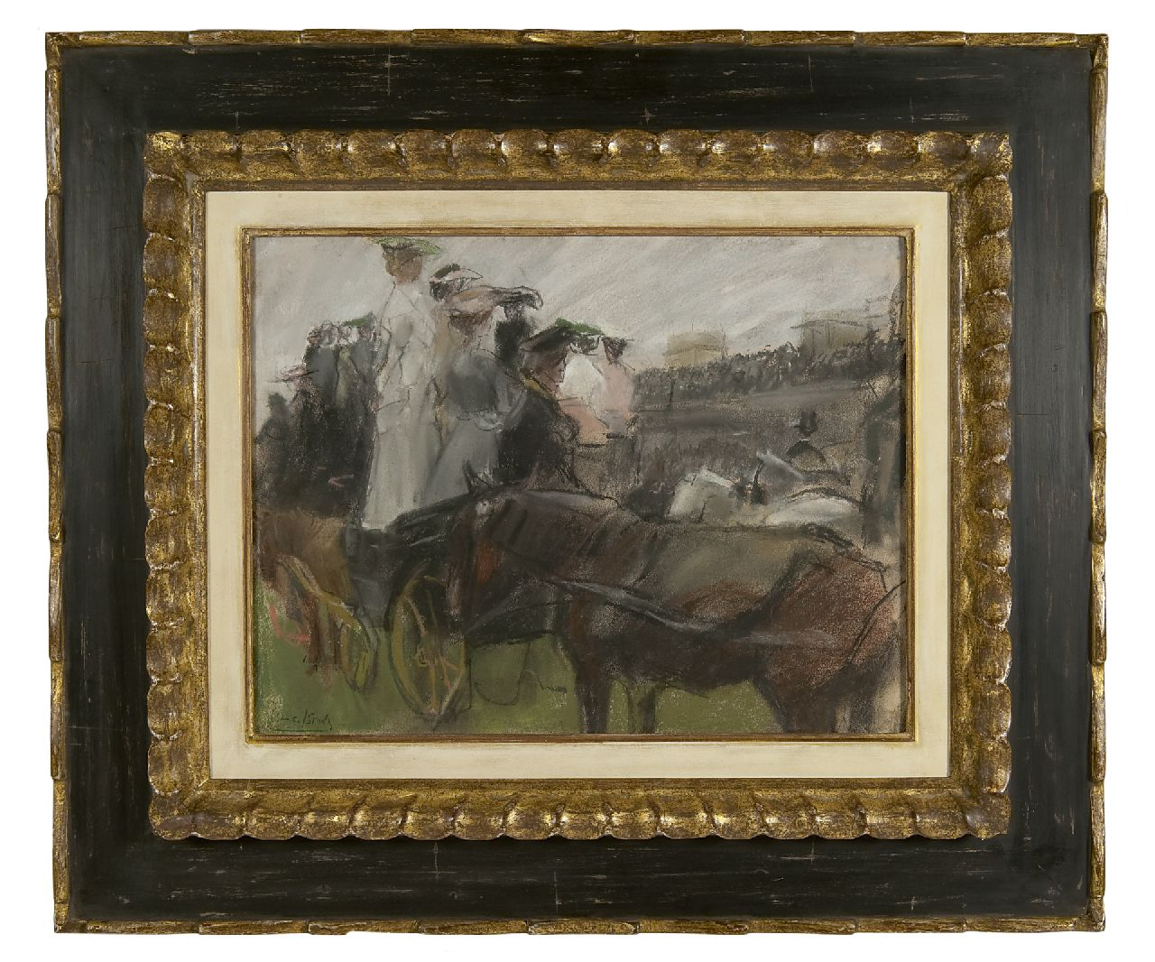 Israels I.L.  | 'Isaac' Lazarus Israels, At the Longchamp races, Paris, pastel and pencil on paper 30.5 x 40.0 cm, signed l.l. and executed ca. 1900