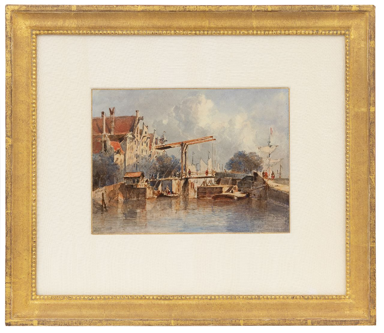 Waldorp A.  | Antonie Waldorp | Watercolours and drawings offered for sale | A view of a Dutch town with a lock, watercolour on paper 16.9 x 23.0 cm, signed c.l.