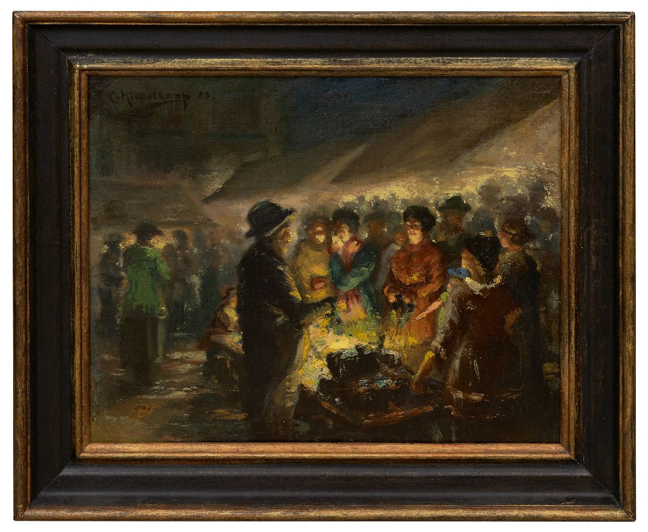Middelkoop C.H.L.  | Cornelis Helenis Lodewijk Middelkoop | Paintings offered for sale | Marketplace at night, oil on canvas 33.0 x 39.9 cm, signed u.l. and dated '23