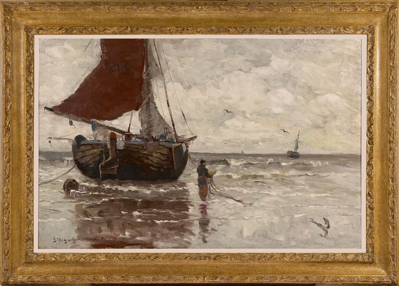 Munthe G.A.L.  | Gerhard Arij Ludwig 'Morgenstjerne' Munthe | Paintings offered for sale | Moored fishing boat, oil on canvas 62.9 x 96.4 cm, signed l.l.