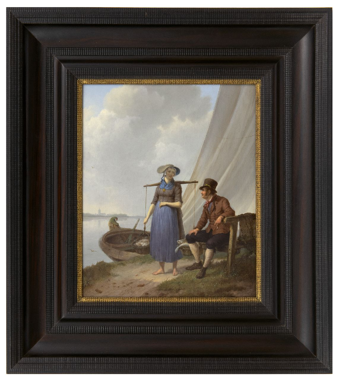 Koekkoek J.H.  | Johannes Hermanus Koekkoek | Paintings offered for sale | A fisherman and woman, chatting, oil on panel 33.1 x 26.9 cm, signed l.c. and dated 1834