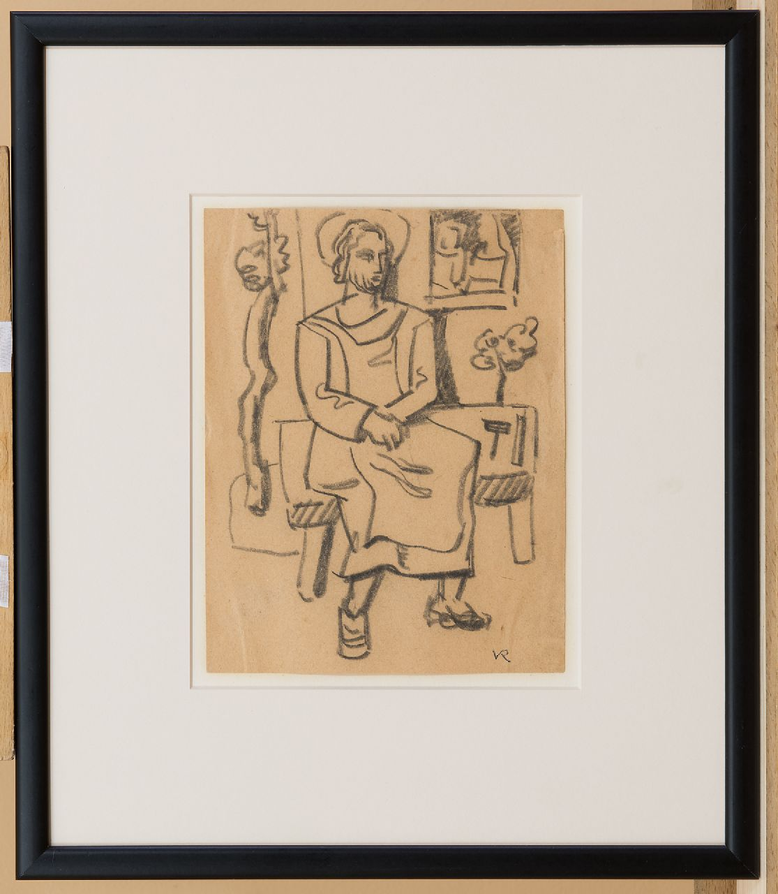 Rees O. van | Otto van Rees | Watercolours and other works on paper offered for sale | Seated man, black chalk on paper 19.5 x 15.5 cm, signed l.r. with monogram