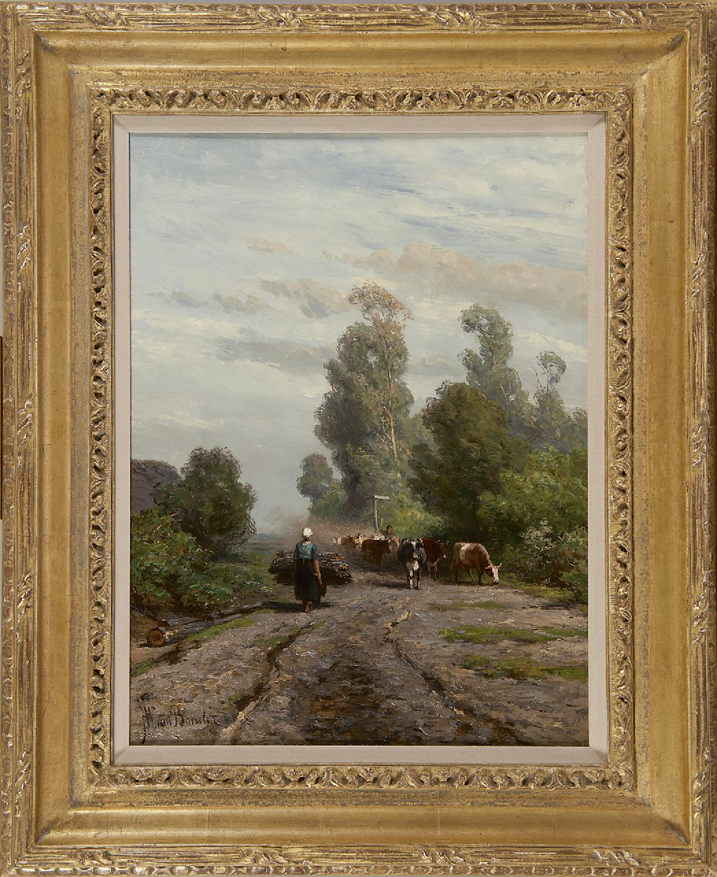 Borselen J.W. van | Jan Willem van Borselen, A summer landscape with a cowherd and cattle, oil on canvas 40.9 x 31.0 cm, signed l.l.