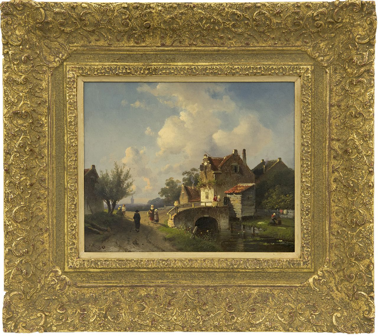 Leickert C.H.J.  | 'Charles' Henri Joseph Leickert, Houses in a river landscape, oil on panel 20.0 x 24.7 cm, signed signed twice (l.l. and l.r.) and painted ca. 1860