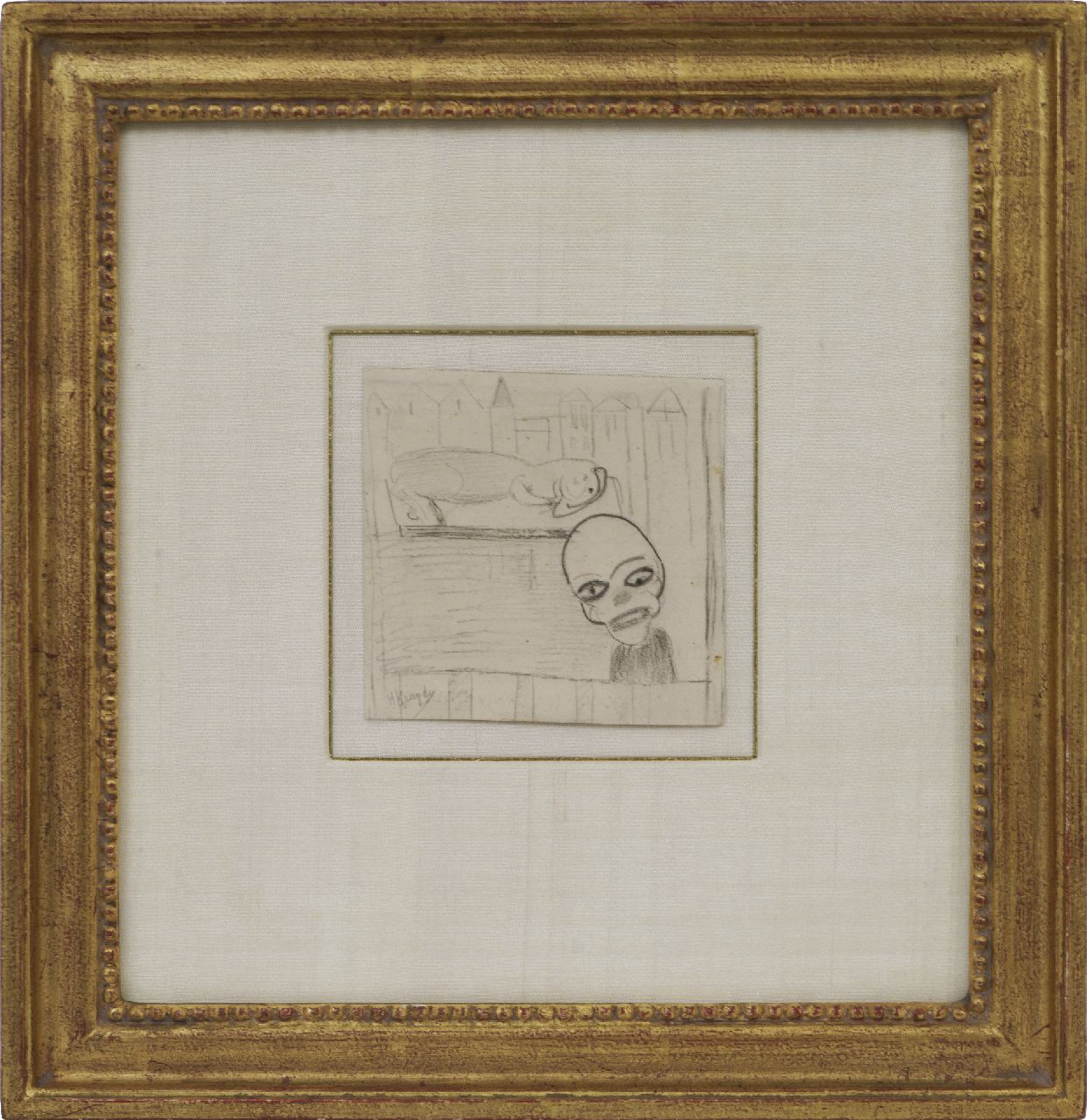 Kruyder H.J.  | 'Herman' Justus Kruyder | Watercolours and drawings offered for sale | A clown and an animal, black chalk on paper 10.0 x 10.2 cm, signed l.l.