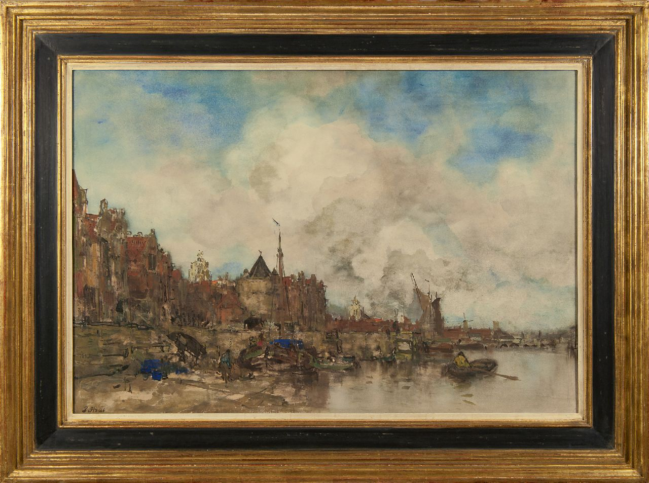 Maris J.H.  | Jacobus Hendricus 'Jacob' Maris | Watercolours and drawings offered for sale | A capriccio view of Amsterdam, watercolour on paper 64.0 x 91.0 cm, signed l.l. and painted ca. 1885