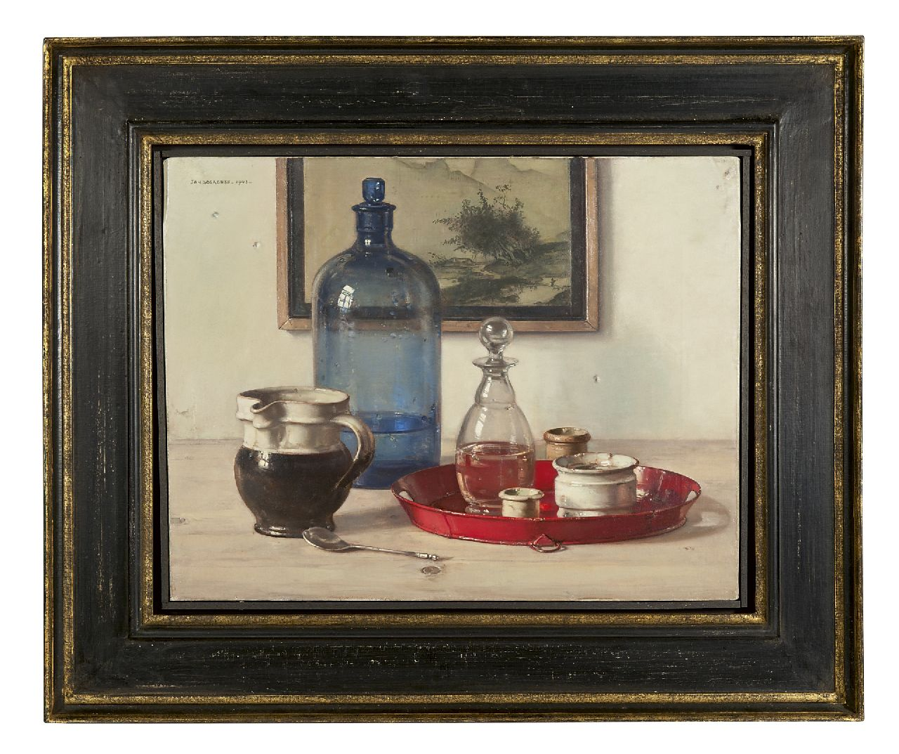 Bogaerts J.J.M.  | Johannes Jacobus Maria 'Jan' Bogaerts | Paintings offered for sale | Still life with blue bottle and jars, oil on canvas 34.7 x 45.4 cm, signed u.l. and dated 1943