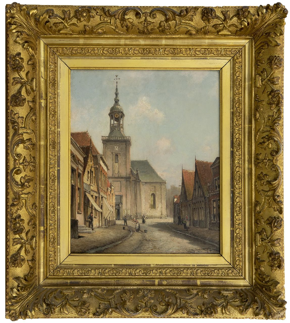 Dommelshuizen C.C.  | Cornelis Christiaan Dommelshuizen, A view of the Kerkstraat in Almelo, oil on canvas 38.6 x 31.5 cm, signed l.r. and dated '98