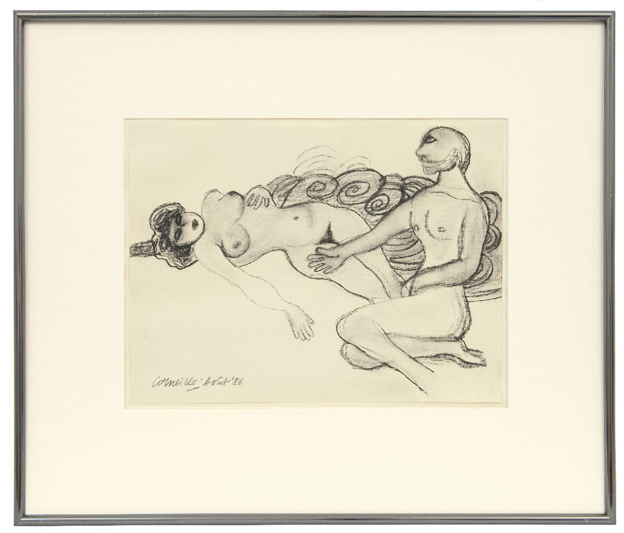 Corneille ('Corneille' Guillaume Beverloo)   | Corneille ('Corneille' Guillaume Beverloo) | Watercolours and other works on paper offered for sale | Man and woman, charcoal on paper 23.7 x 31.8 cm, signed l.l. and dated Août '86