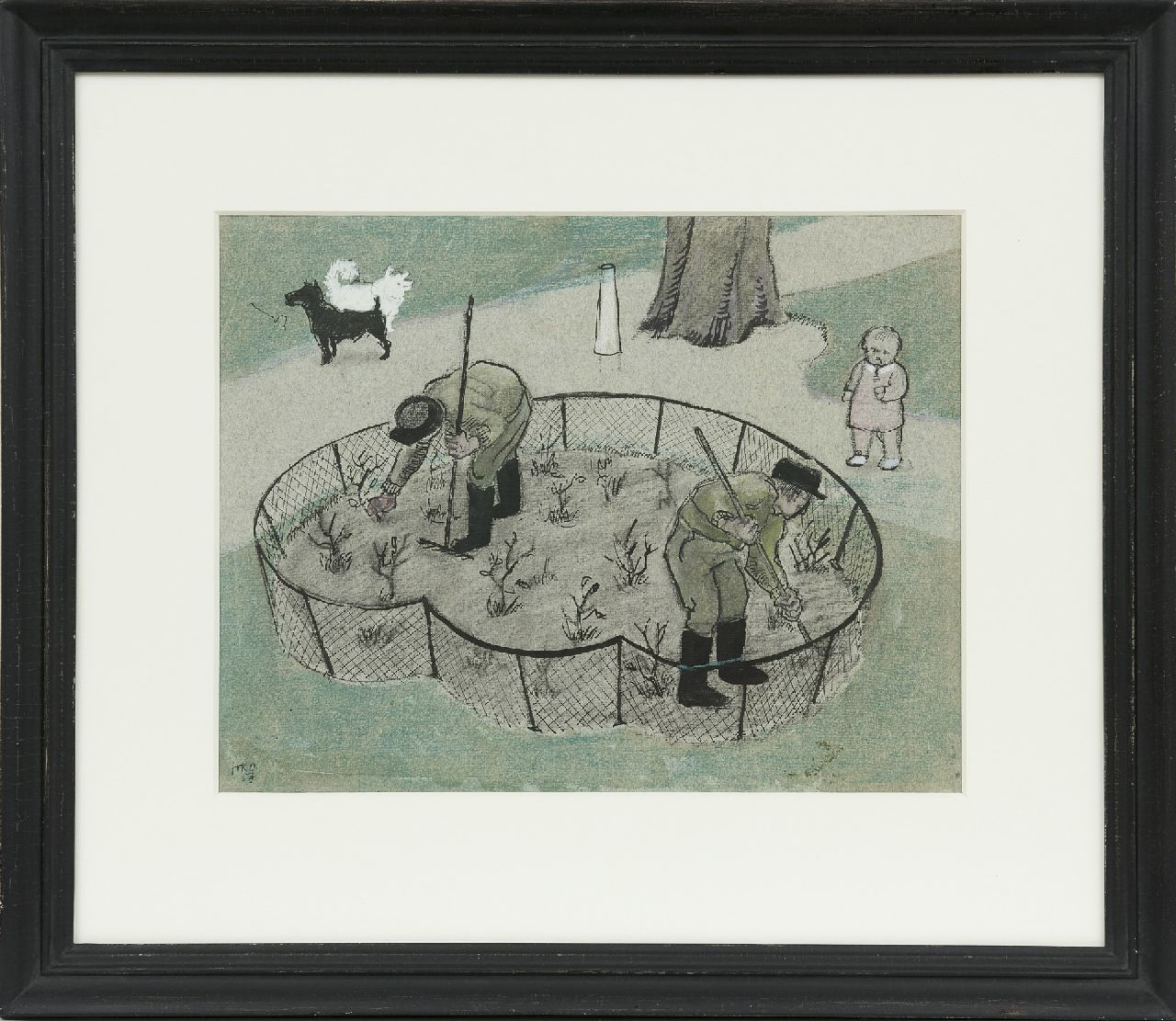 Kamerlingh Onnes H.H.  | 'Harm' Henrick Kamerlingh Onnes | Watercolours and drawings offered for sale | The rose bed (Nieuwe Plantage, Delft), Indian ink and chalk on paper 25.5 x 32.8 cm, signed l.l. with monogram and dated '54