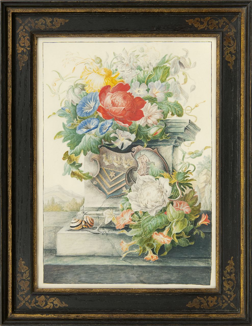 Henstenburgh H.  | Herman Henstenburgh | Watercolours and drawings offered for sale | A flower still life with a column and coat of arms, watercolour on parchment on paper 36.6 x 25.3 cm