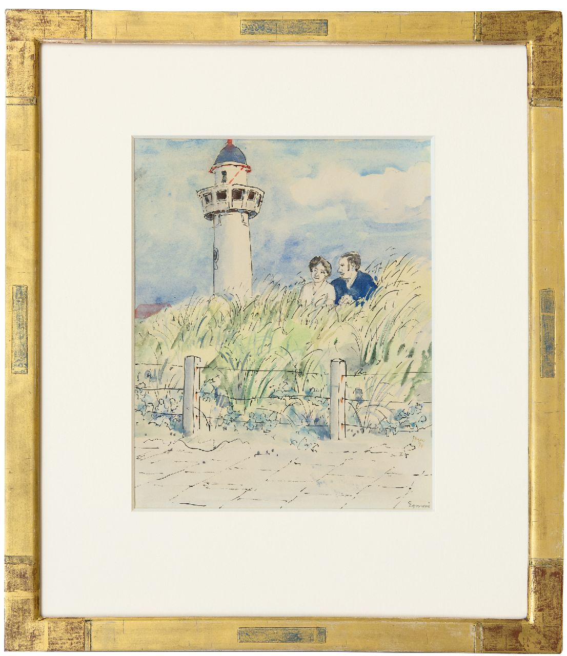 Kamerlingh Onnes H.H.  | 'Harm' Henrick Kamerlingh Onnes, A young couple in the dunes, Egmond aan Zee, pen, ink and watercolour on paper 25.7 x 21.0 cm, signed l.r. and dated '74