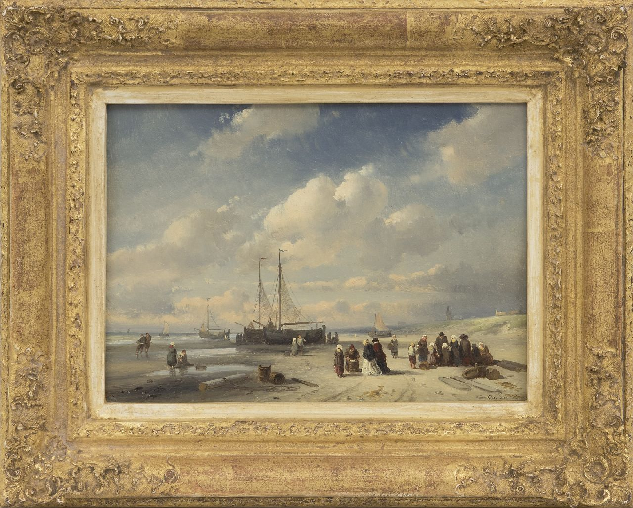 Leickert C.H.J.  | 'Charles' Henri Joseph Leickert | Paintings offered for sale | Fish market on the beach of Scheveningen, oil on panel 19.2 x 27.0 cm, signed l.r. and painted late 1850s