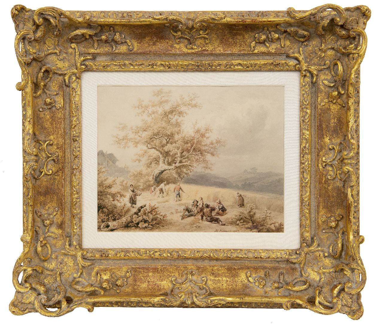 Koekkoek B.C.  | Barend Cornelis Koekkoek | Watercolours and drawings offered for sale | Harvest time, Luxemburg, ink and watercolour on paper 19.6 x 24.9 cm, signed l.c. and dated 1847