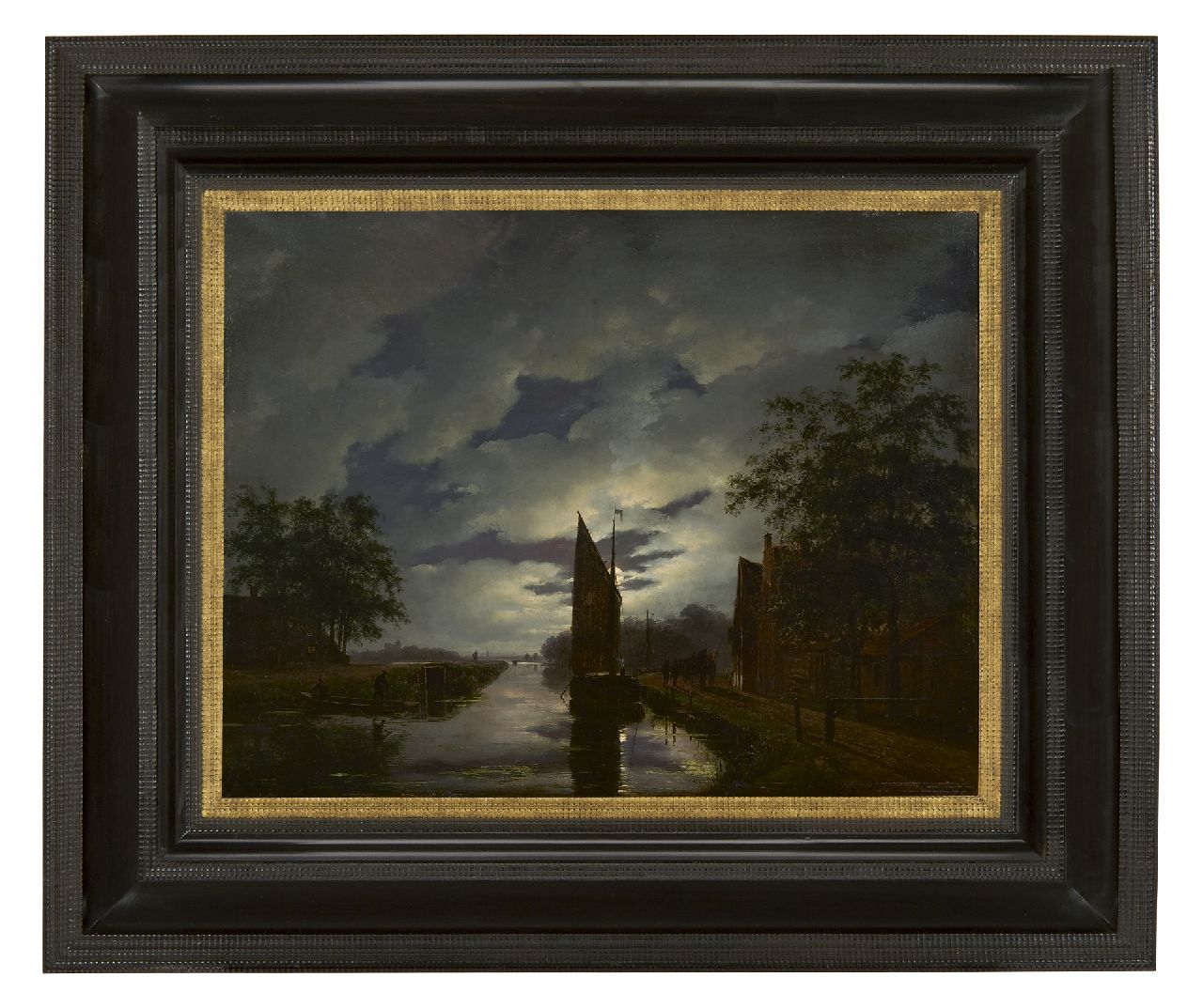 Schelfhout A.  | Andreas Schelfhout, A moonlit river landscape, oil on panel 38.2 x 49.3 cm, signed l.r. and painted ca. 1822