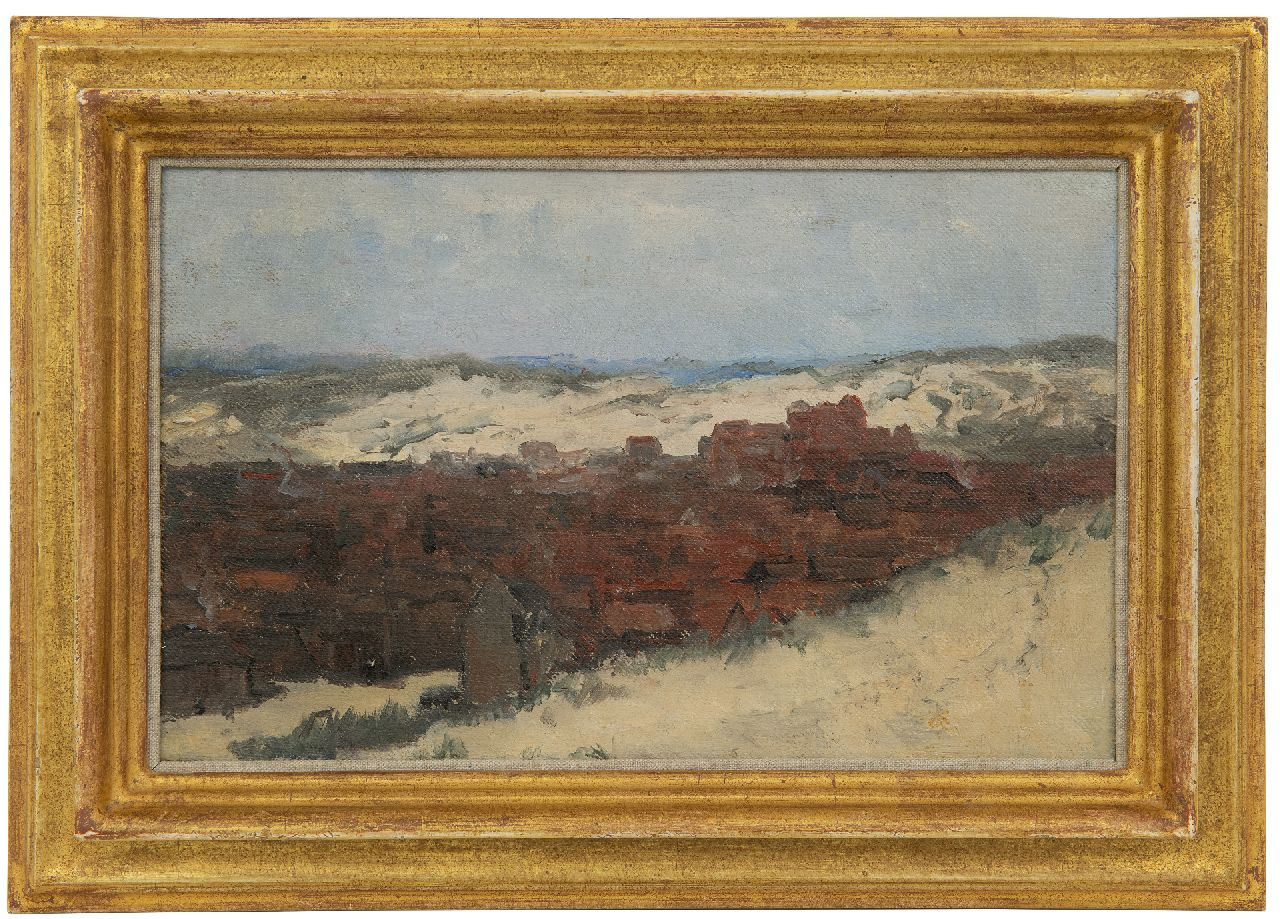 Mesdag H.W.  | Hendrik Willem Mesdag | Paintings offered for sale | Sketch of Scheveningen - Study for Panorama Mesdag (not for sale), oil on canvas laid down on panel 20.0 x 31.5 cm, painted  ca. 1880