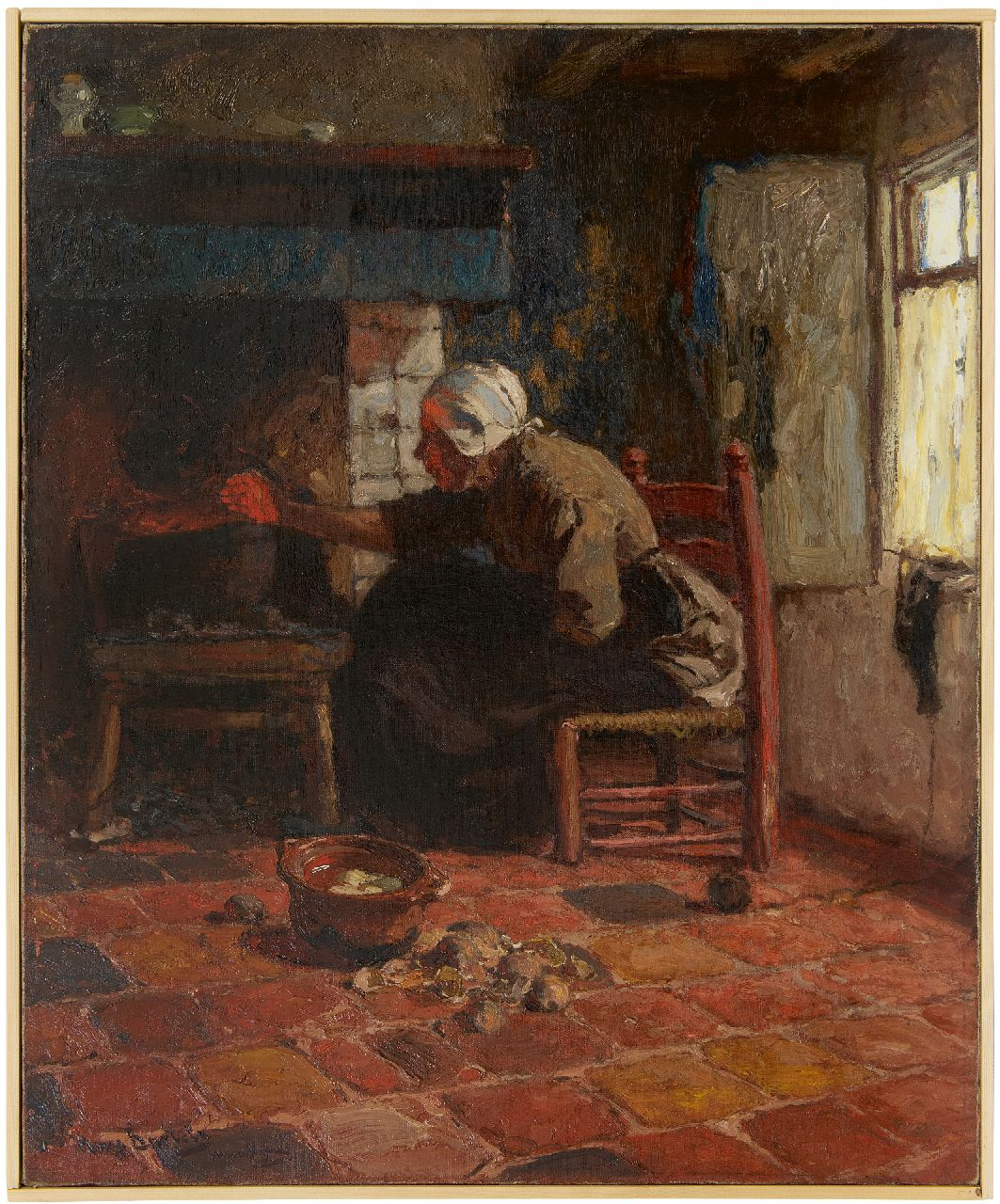 Bartels H. von | Hans von Bartels | Paintings offered for sale | A woman from Katwijk near the fire, oil on canvas 67.3 x 55.0 cm, signed l.l.