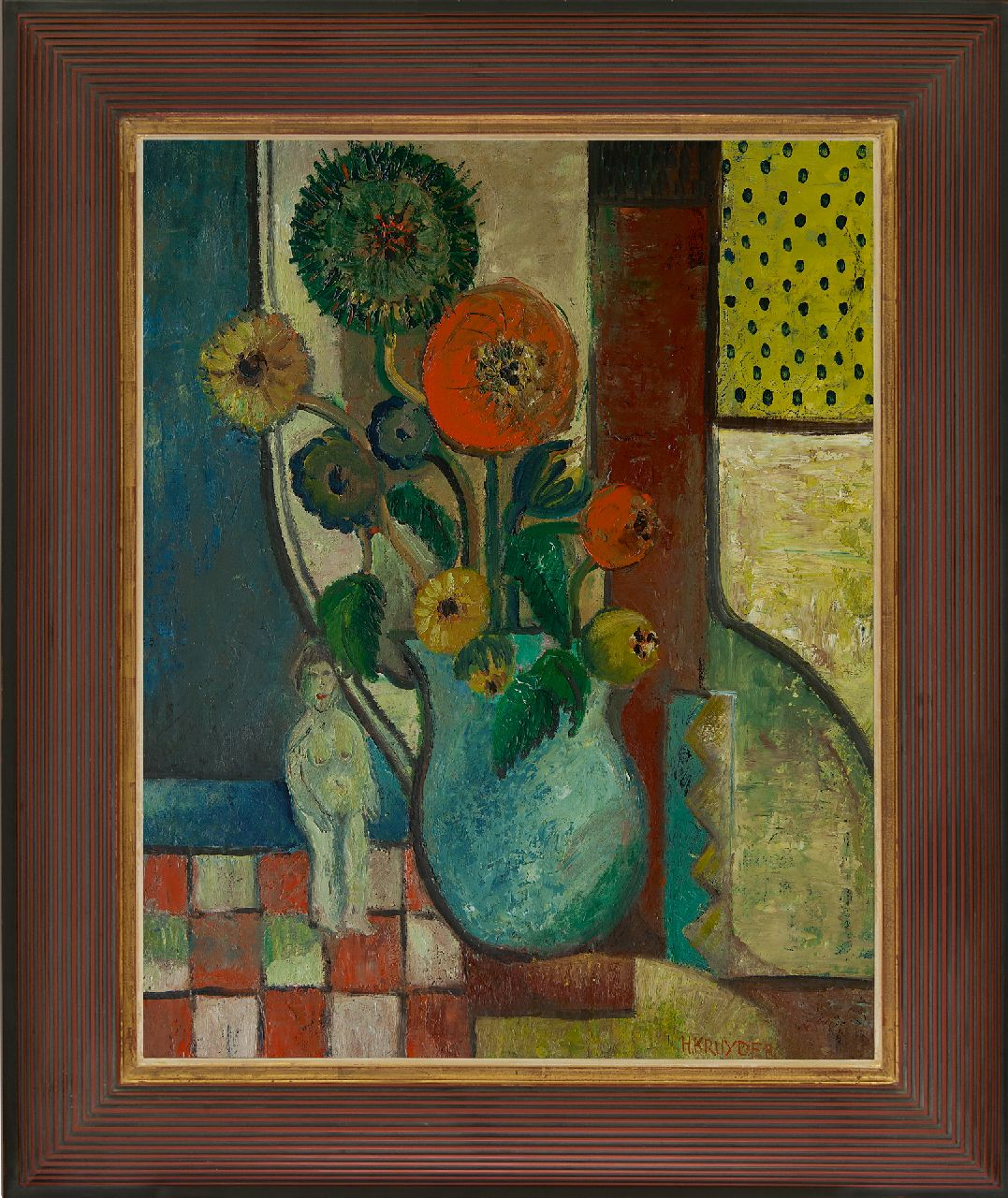 Kruyder H.J.  | 'Herman' Justus Kruyder, A still life with flowers, oil on canvas 69.0 x 54.8 cm, signed l.r. and painted ca. 1931