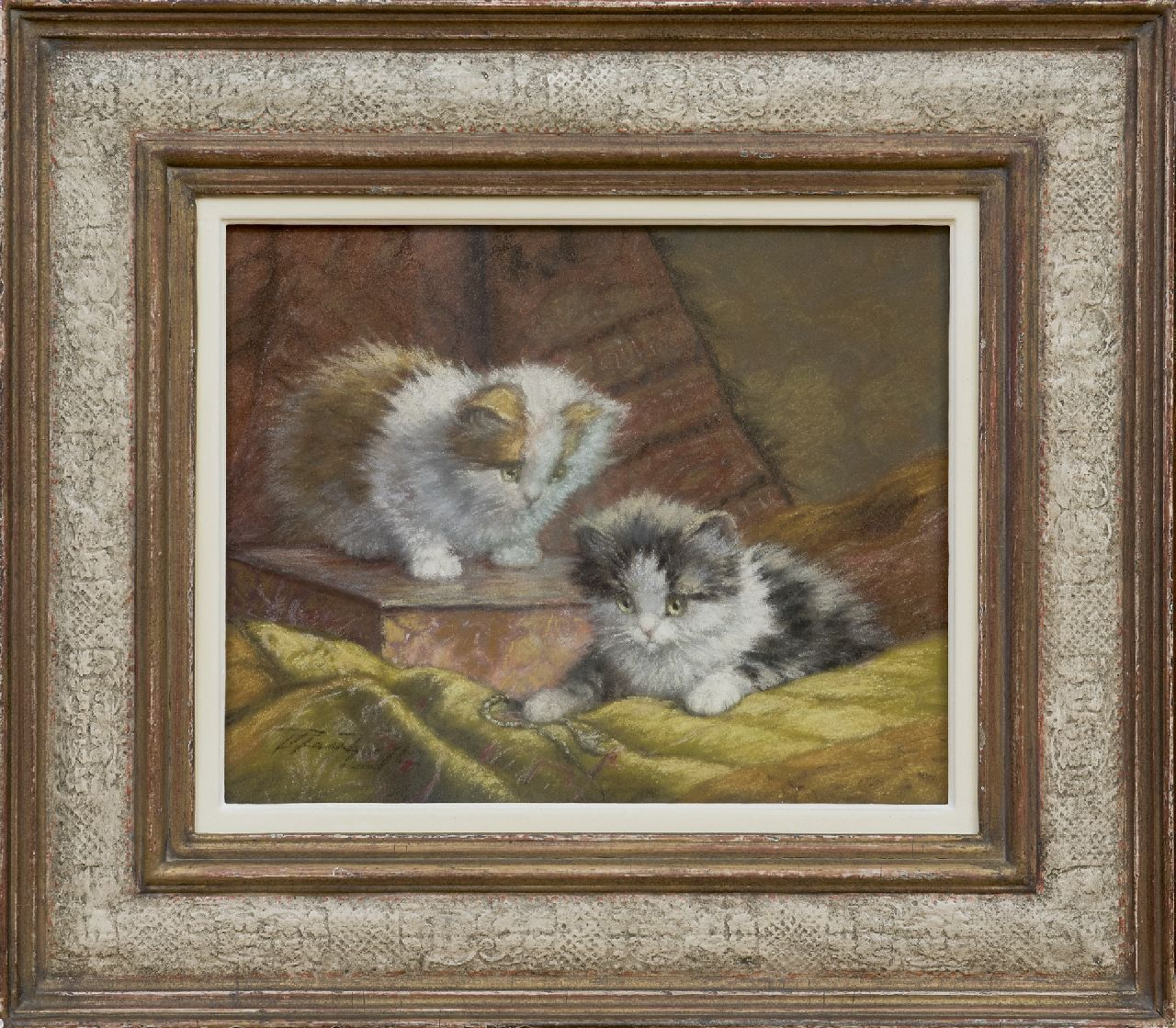 Raaphorst C.  | Cornelis Raaphorst | Watercolours and drawings offered for sale | Two kittens on a cushion, pastel on paper 25.2 x 31.0 cm, signed l.l.