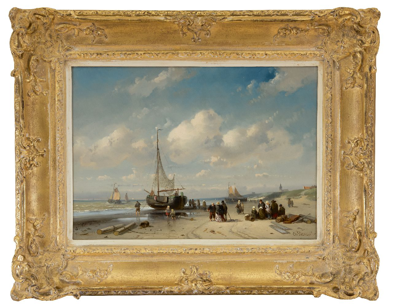 Leickert C.H.J.  | 'Charles' Henri Joseph Leickert | Paintings offered for sale | Fishermen and an elegant couple on the beach at Scheveningen, oil on panel 27.5 x 38.7 cm, signed l.r. in full and l.l. indistinctly and dated '57