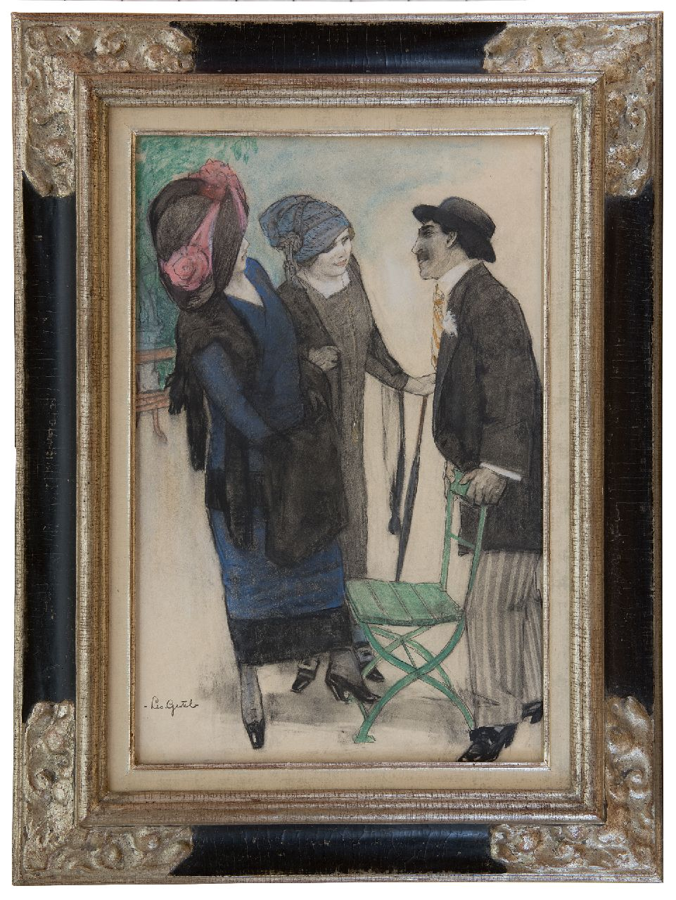 Gestel L.  | Leendert 'Leo' Gestel | Watercolours and other works on paper offered for sale | Conversation in the park, charcoal and pastel on paper 50.1 x 33.4 cm, signed l.l. and executed ca. 1910