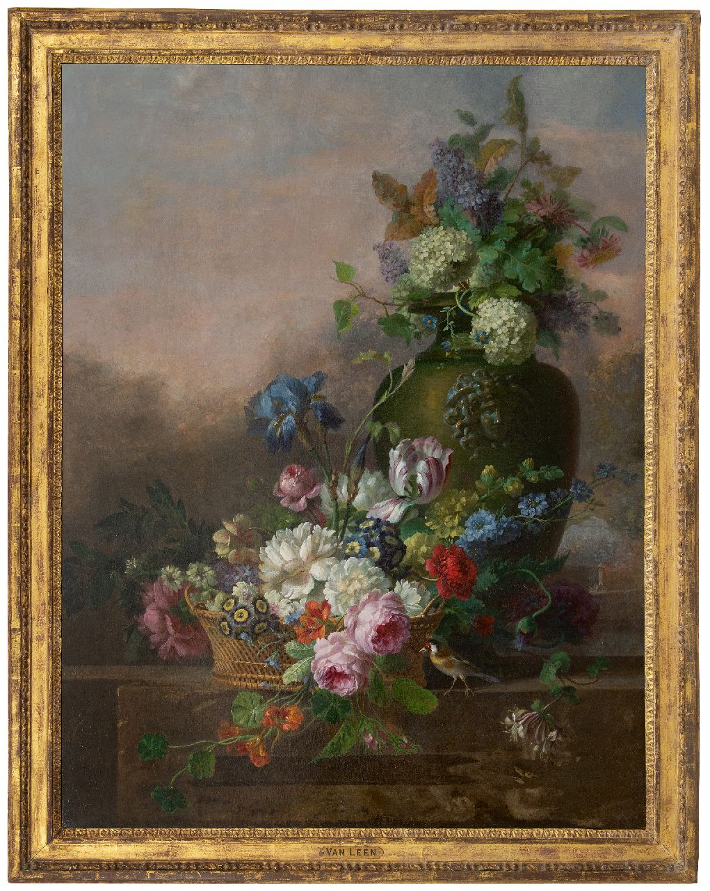 Leen W. van | Willem van Leen | Paintings offered for sale | A flower still life with roses, a tulip, an iris and other flowers, oil on canvas 116.2 x 90.8 cm