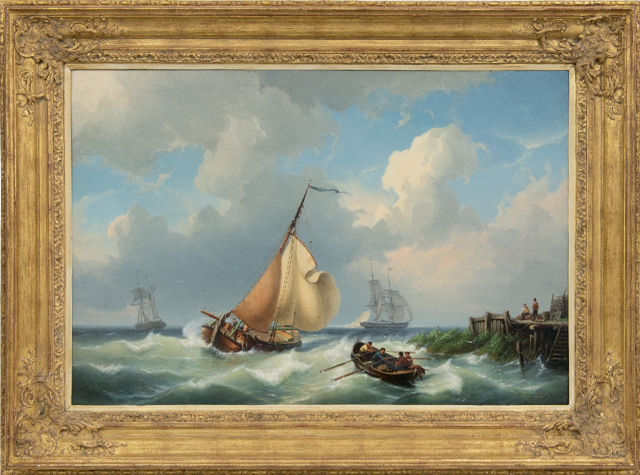Dommelshuizen C.C.  | Cornelis Christiaan Dommelshuizen | Paintings offered for sale | Sailing vessels off the coast in stormy weather, oil on canvas 56.3 x 83.0 cm, signed l.r. and dated 1861