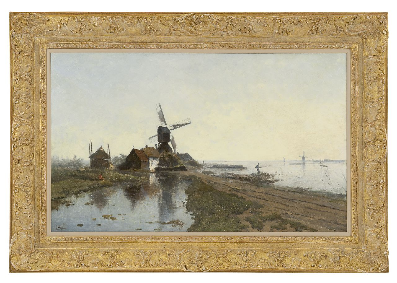 Gabriel P.J.C.  | Paul Joseph Constantin 'Constan(t)' Gabriel, The mill path near Kortenhoef, with windmill De Lelie, oil on panel 49.7 x 82.2 cm, signed l.l.