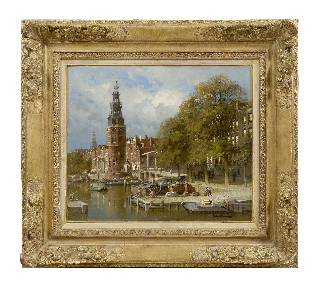 Klinkenberg J.C.K.  | Johannes Christiaan Karel Klinkenberg | Paintings offered for sale | The Montelbaanstoren near the Kalkmarktsluis, Amsterdam, oil on canvas 39.3 x 47.3 cm, signed l.r.