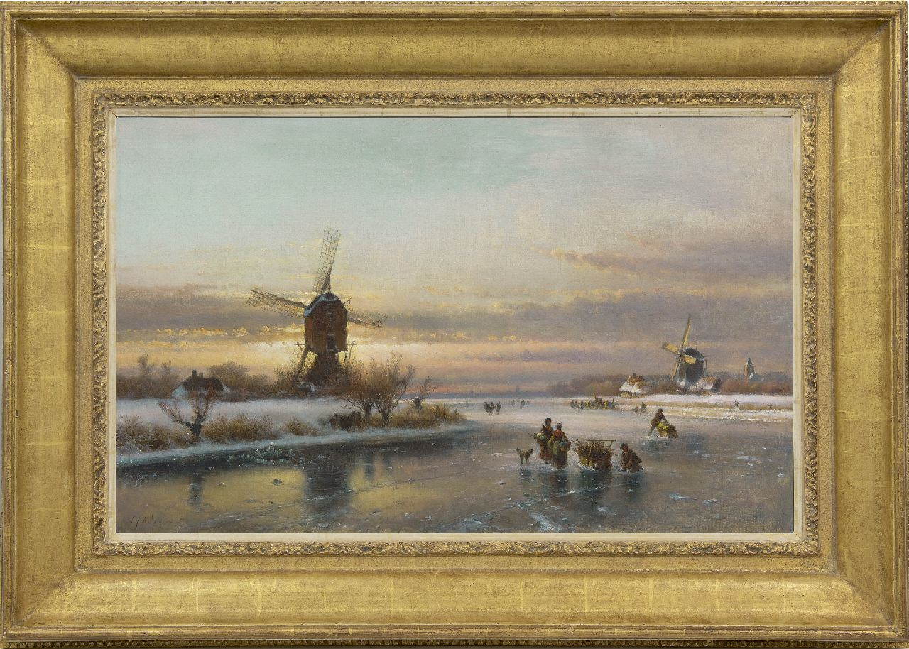Kleijn L.J.  | Lodewijk Johannes Kleijn, A winter landscape with skaters by a windmill, oil on canvas 50.1 x 80.0 cm, signed l.l.