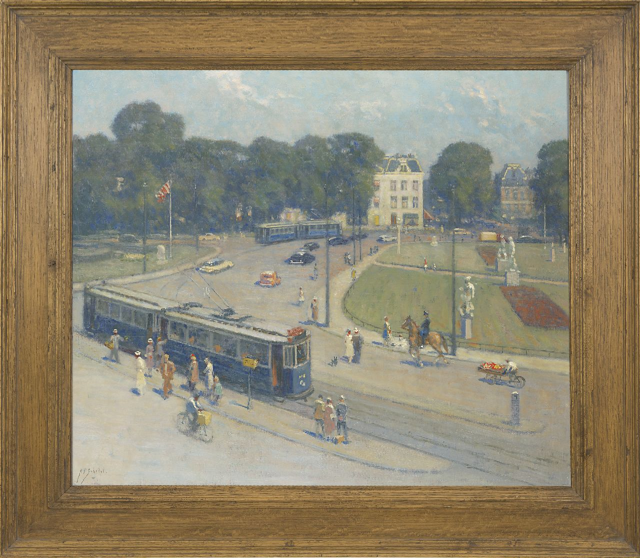Schotel A.P.  | Anthonie Pieter Schotel | Paintings offered for sale | Sculpture exhibition on the Frederiksplein in Amsterdam, 1951, oil on canvas 59.8 x 70.2 cm, signed l.l. and painted in 1951