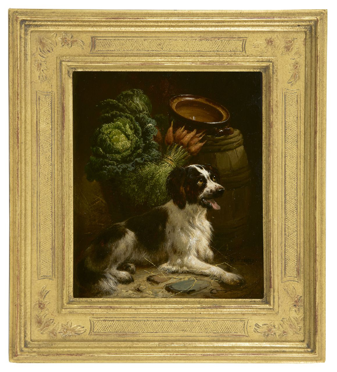 Ronner-Knip H.  | Henriette Ronner-Knip | Paintings offered for sale | A young setter, oil on panel 18.8 x 15.8 cm, signed l.r.