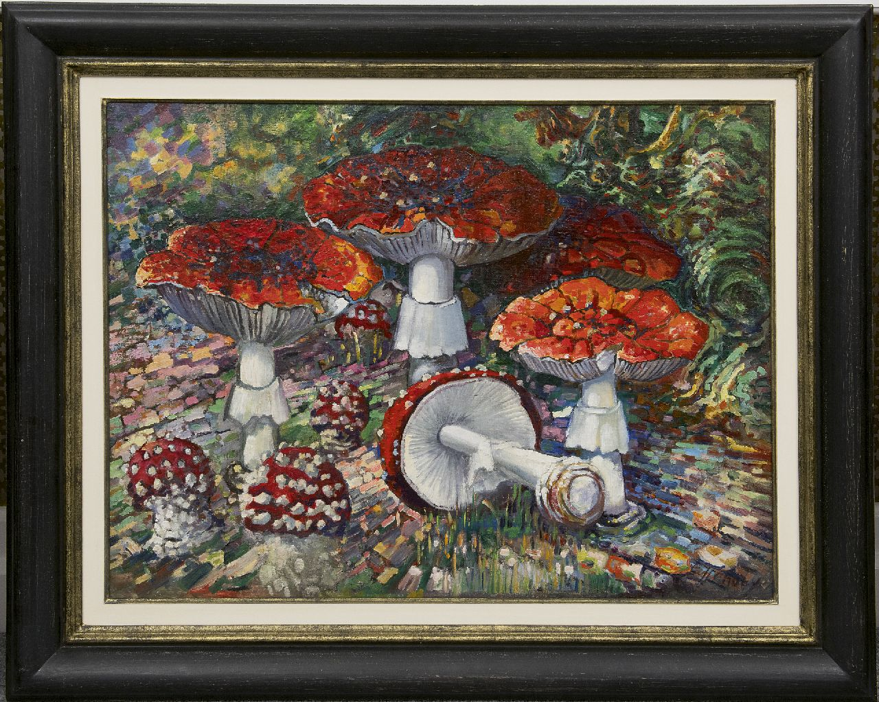 Lanooy C.J.  | Christiaan Johannes 'Chris' Lanooy, Fly agaric mushrooms, oil on canvas laid down on board 52.2 x 68.7 cm, signed l.r.