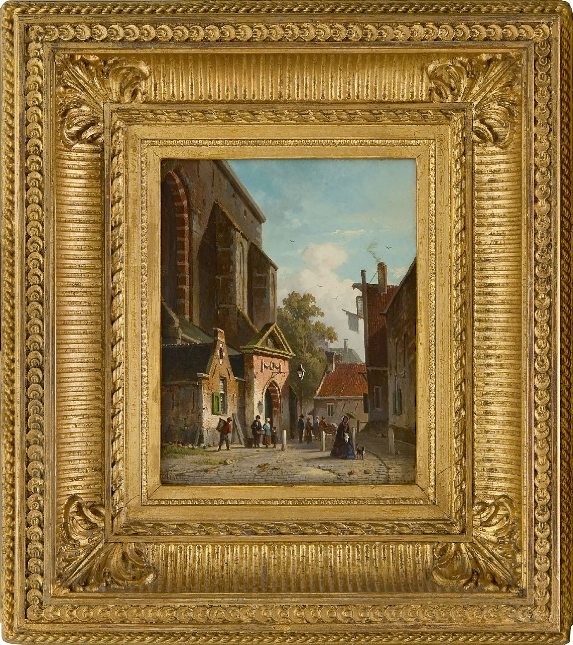 Eversen A.  | Adrianus Eversen | Paintings offered for sale | A view of southern entrance of the Waalse Kerk, Haarlem, oil on panel 19.2 x 15.2 cm, signed l.l. in full and with monogram