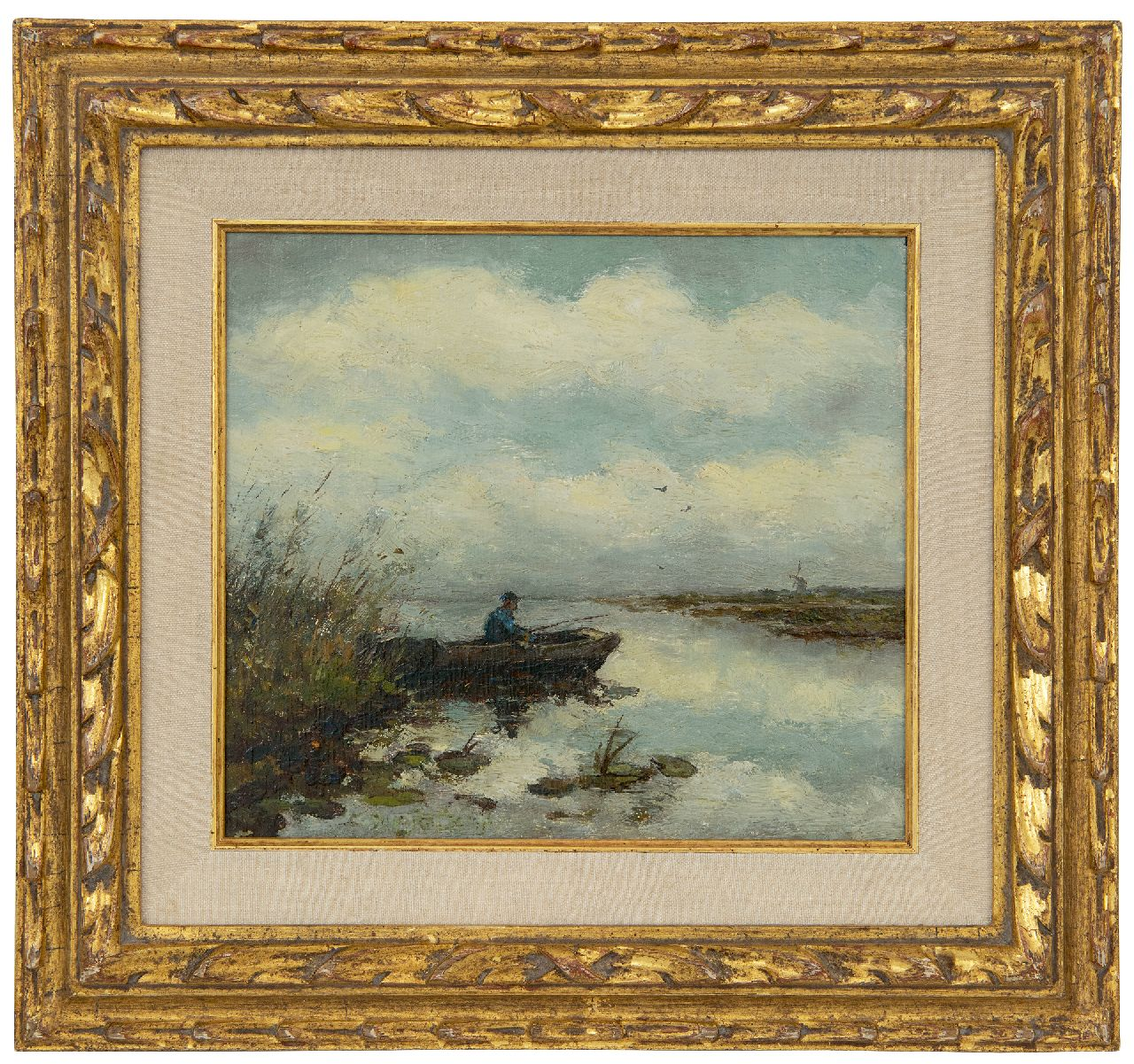 Weissenbruch H.J.  | Hendrik Johannes 'J.H.' Weissenbruch | Paintings offered for sale | A fisherman in a barge in a polder landscape, oil on panel 16.2 x 18.2 cm, signed traces of signature c.l.