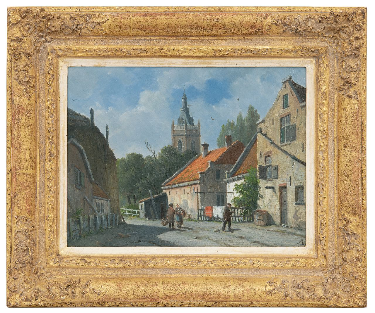Eversen A.  | Adrianus Eversen | Paintings offered for sale | A sunny town view  in Overschie, oil on panel 20.7 x 26.8 cm, signed l.r. with monogram