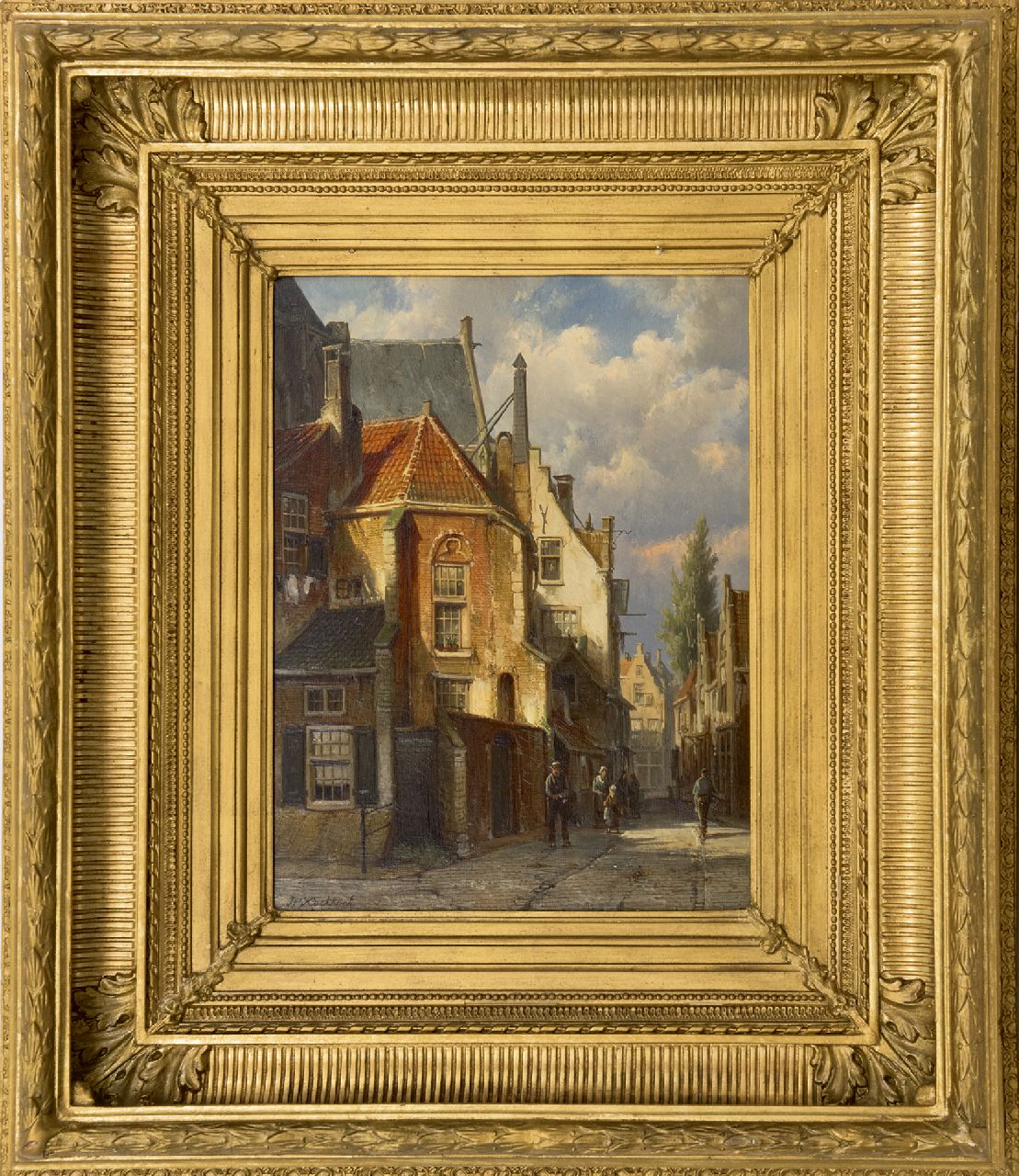 Koekkoek W.  | Willem Koekkoek | Paintings offered for sale | Street behind the church in a Dutch village, oil on panel 38.3 x 29.5 cm, signed l.l.