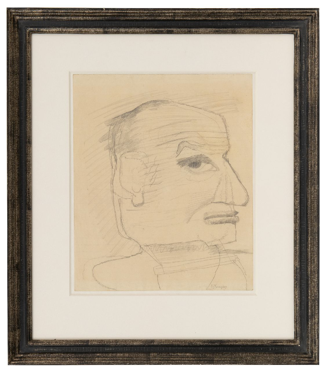 Kruyder H.J.  | 'Herman' Justus Kruyder | Watercolours and drawings offered for sale | Self-portrait (probably), pencil on paper 25.0 x 21.0 cm, signed l.r.