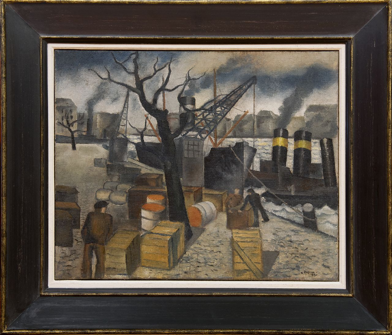 Bosma W.  | Willem 'Wim' Bosma, In the harbour, oil on canvas 45.2 x 55.4 cm, signed l.r. and dated 1930