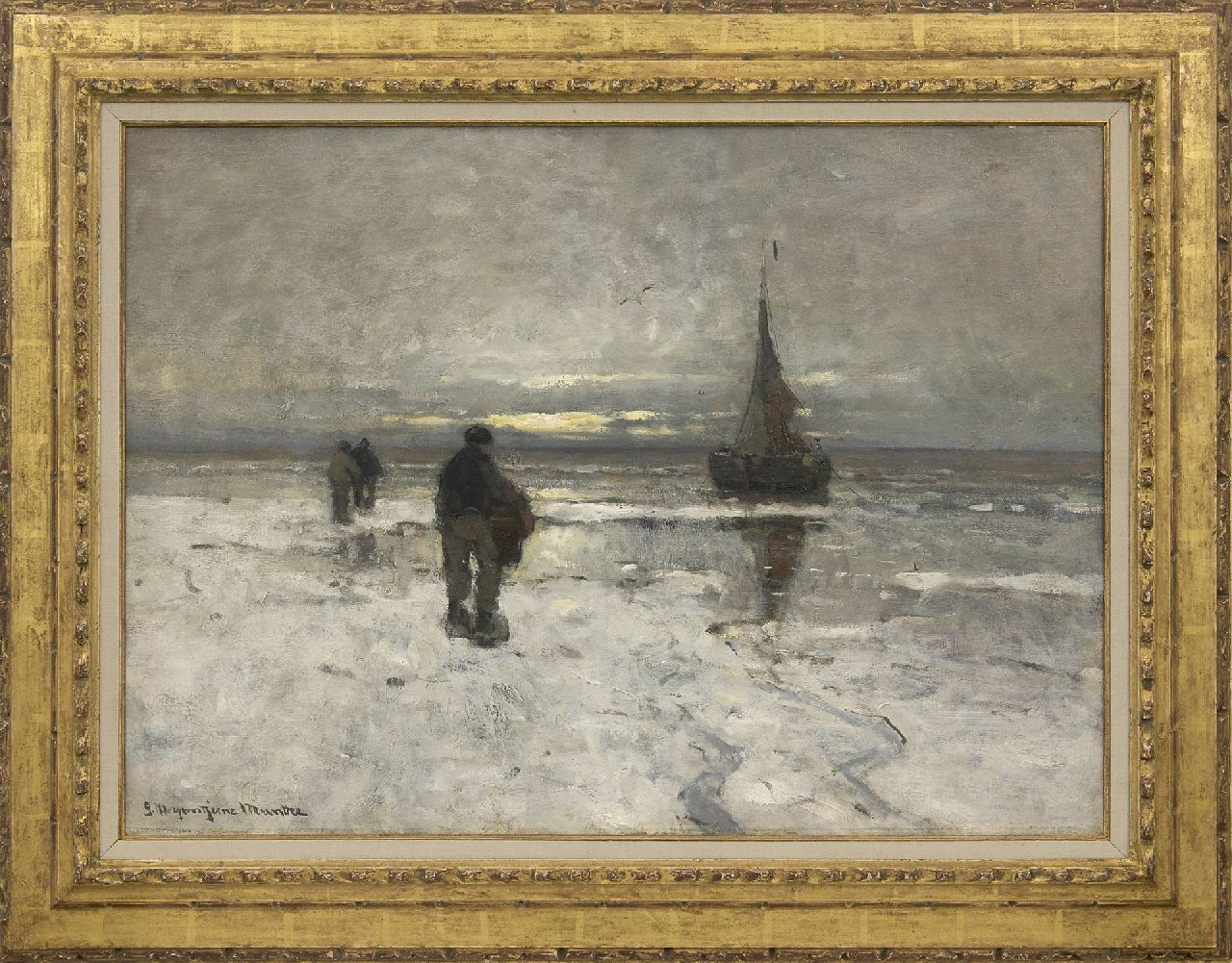 Munthe G.A.L.  | Gerhard Arij Ludwig 'Morgenstjerne' Munthe | Paintings offered for sale | The beach in winter, oil on canvas 54.0 x 75.1 cm, signed l.l.