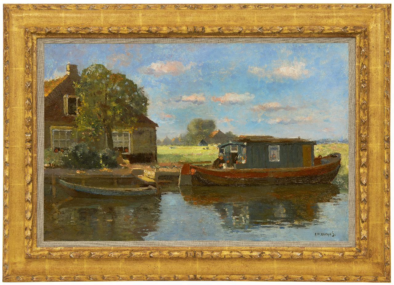 Weijns J.H.  | Jan Harm Weijns | Paintings offered for sale | Moored barge in Katwijk aan den Rijn, oil on canvas 40.5 x 60.8 cm, signed l.r.