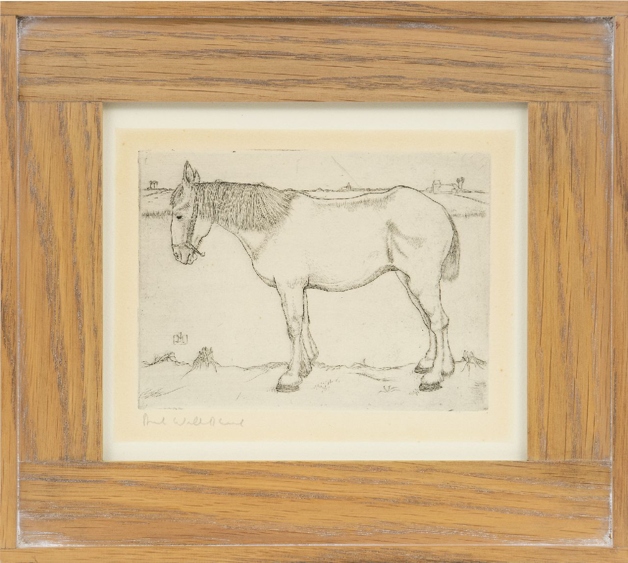 Mankes J.  | Jan Mankes | Prints and Multiples offered for sale | Standing horse, etching on paper 11.7 x 15.8 cm, signed c.l. with monogram in the plate and executed in 1917