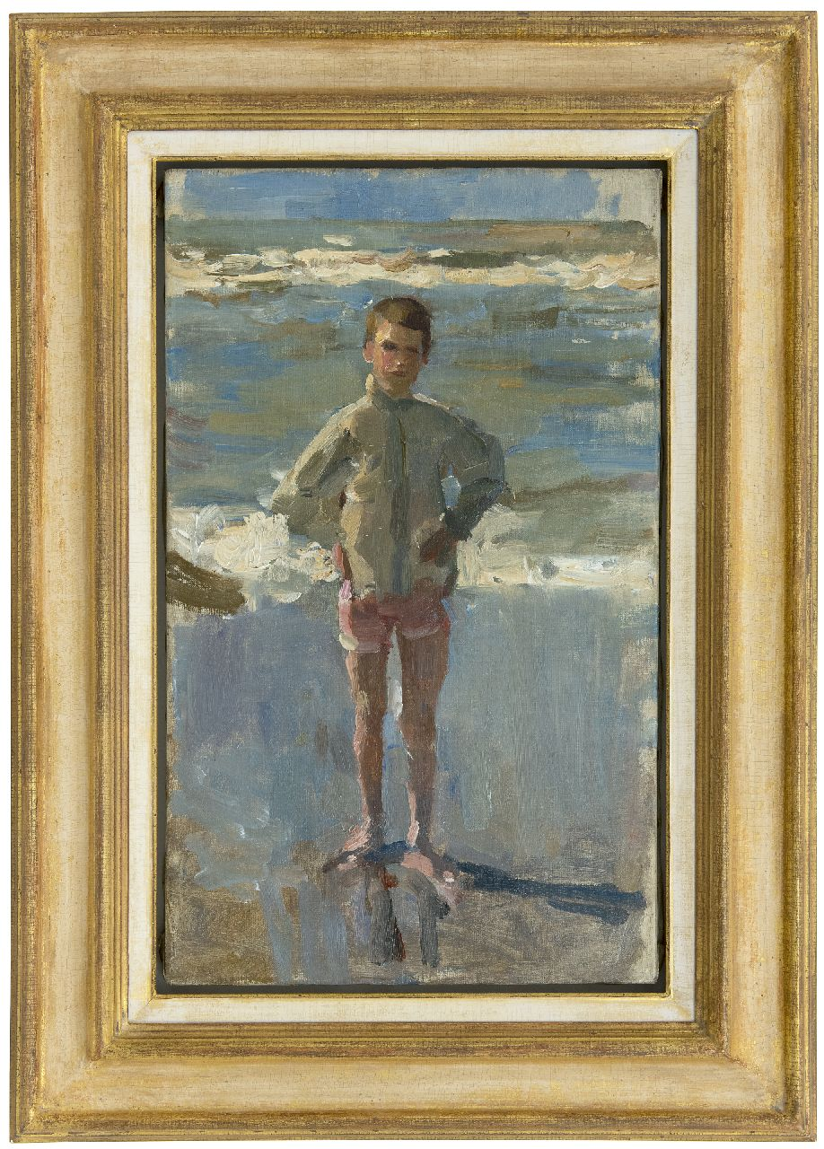 Israels I.L.  | 'Isaac' Lazarus Israels | Paintings offered for sale | Young boy on the beach in Scheveningen, oil on canvas 50.0 x 30.0 cm, signed on the stretcher and painted 1895-1905