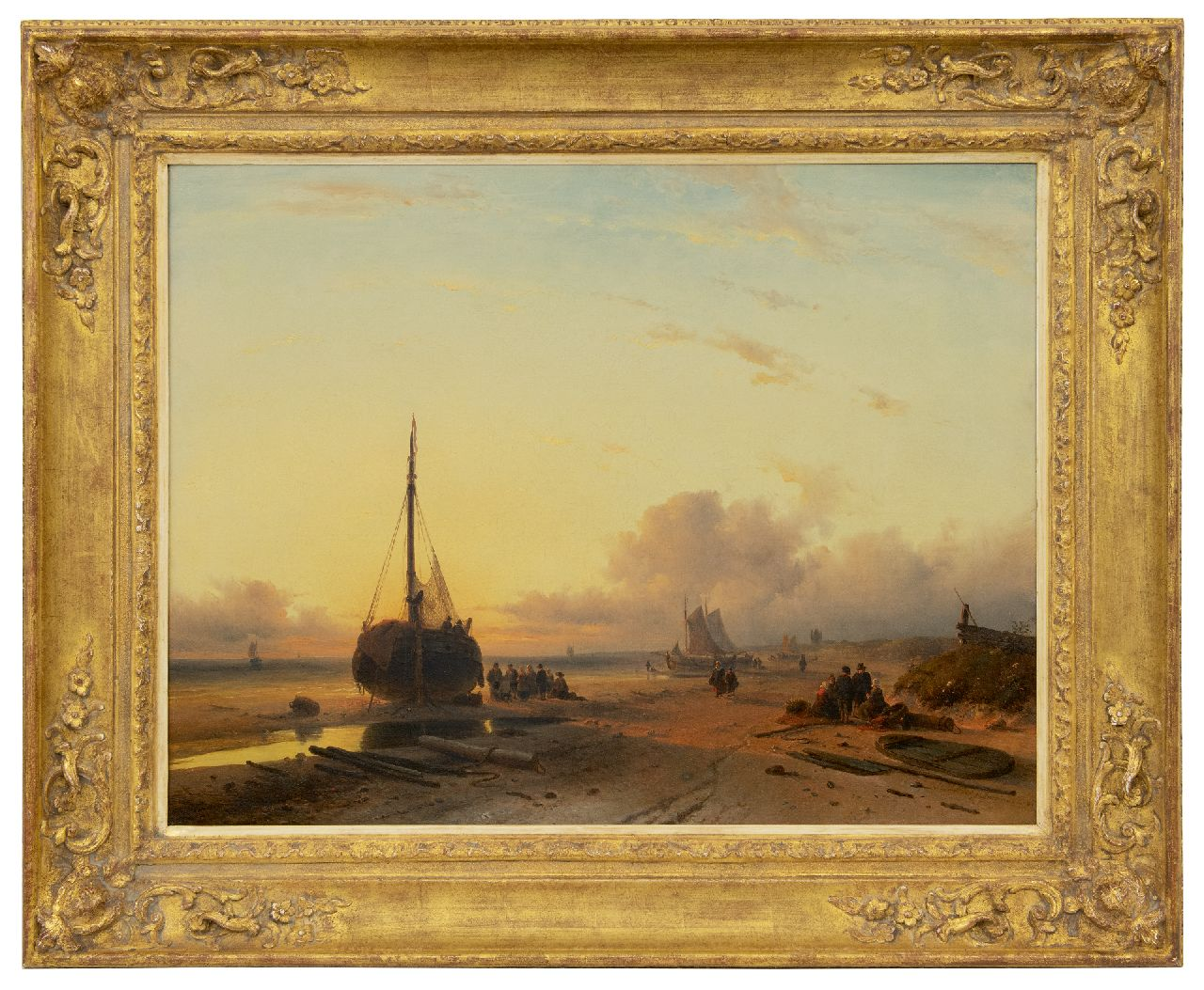 Leickert C.H.J.  | 'Charles' Henri Joseph Leickert, Fishing vessels on a beach at sunset, oil on canvas 58.0 x 75.0 cm, signed l.r. and dated 'London' 1845