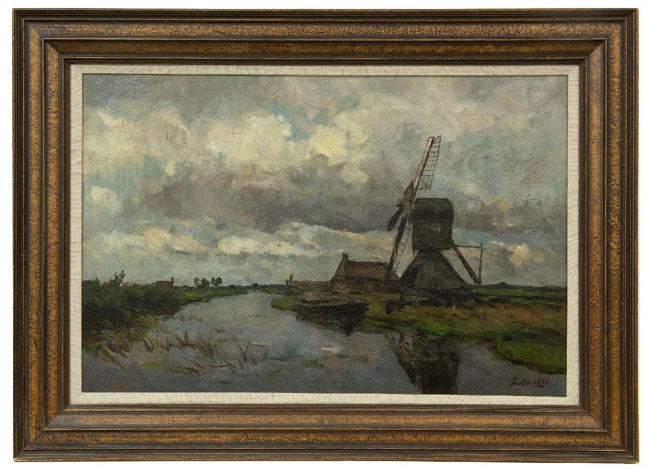Bauffe V.  | Victor Bauffe | Paintings offered for sale | Windmill on a canal, oil on canvas 41.8 x 61.9 cm, signed l.r.