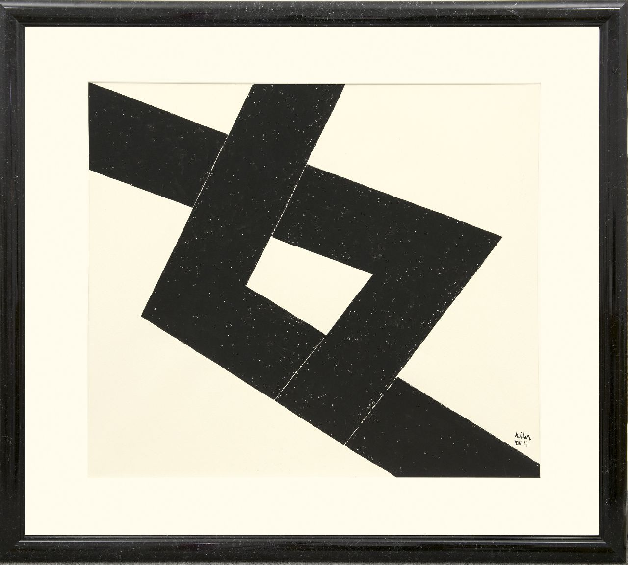 Kelder A.B.  | Antonius Bernardus 'Toon' Kelder | Watercolours and drawings offered for sale | Abstract composition, Indian ink on paper 77.0 x 68.0 cm, signed l.r. and dated '69