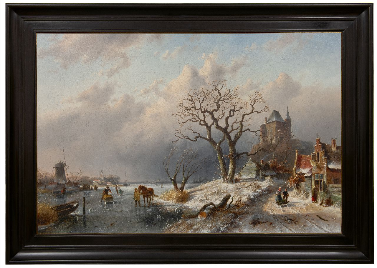 Leickert C.H.J.  | 'Charles' Henri Joseph Leickert | Paintings offered for sale | Winter landscape with skaters and land folk on a path, oil on canvas 80.0 x 120.8 cm, signed l.l.