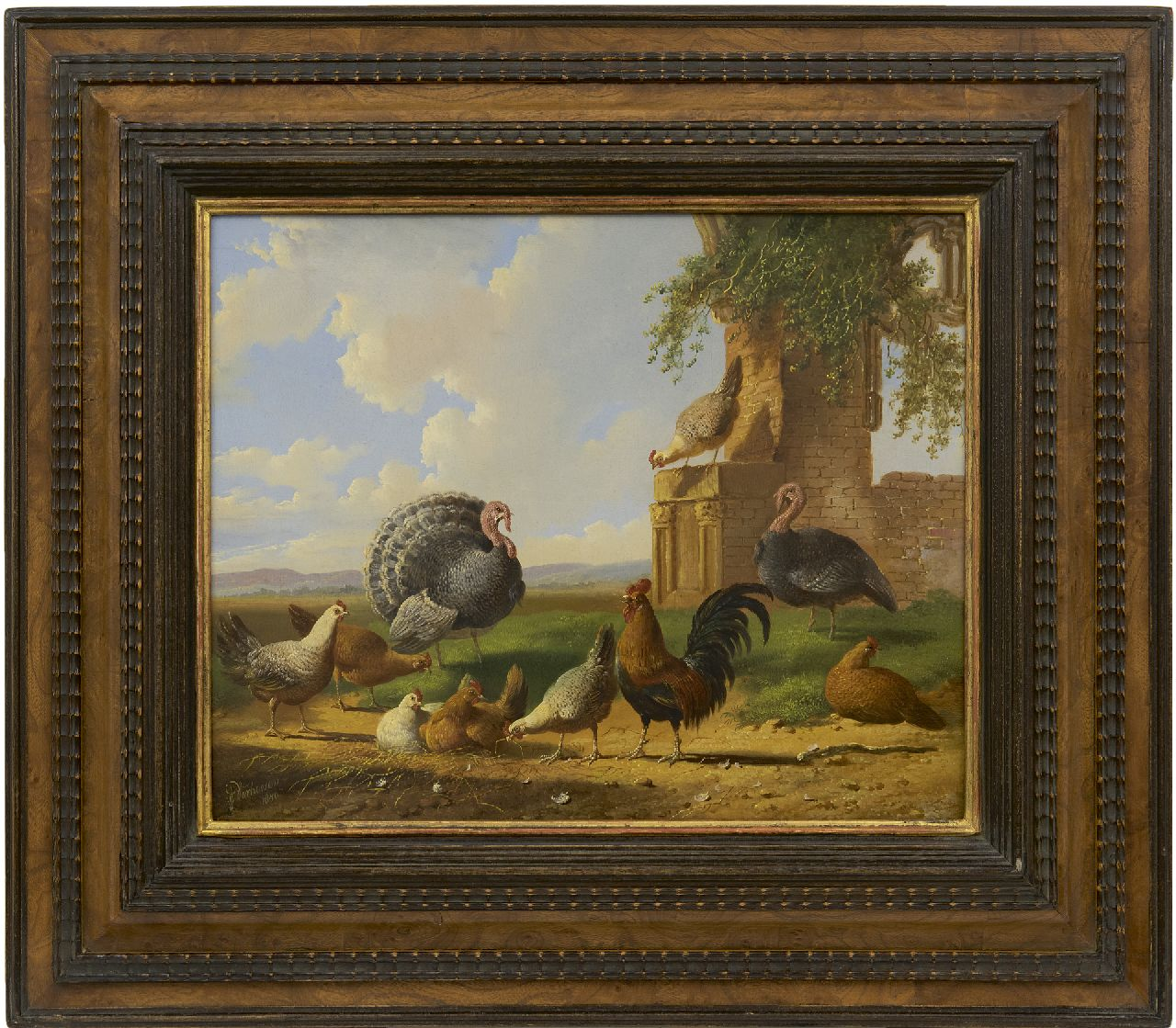 Verhoesen A.  | Albertus Verhoesen | Paintings offered for sale | Turkeys and chicken in a landscape, oil on panel 30.5 x 37.6 cm, signed l.l. and painted 1870
