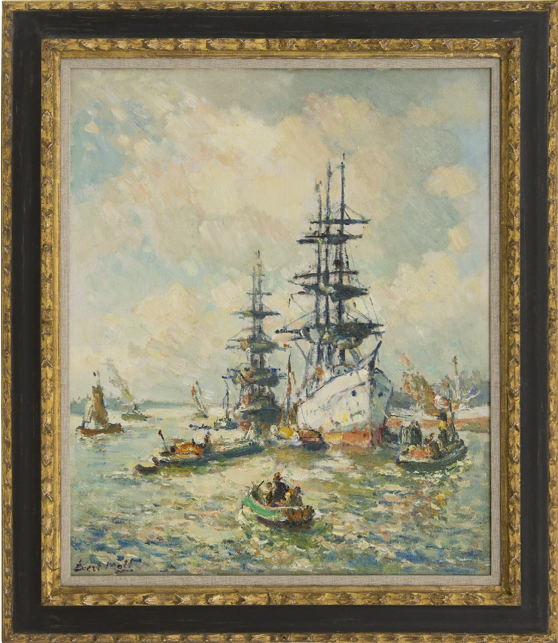 Moll E.  | Evert Moll | Paintings offered for sale | Three-masters in the Rotterdam harbour, oil on canvas 60.2 x 50.2 cm, signed l.l.