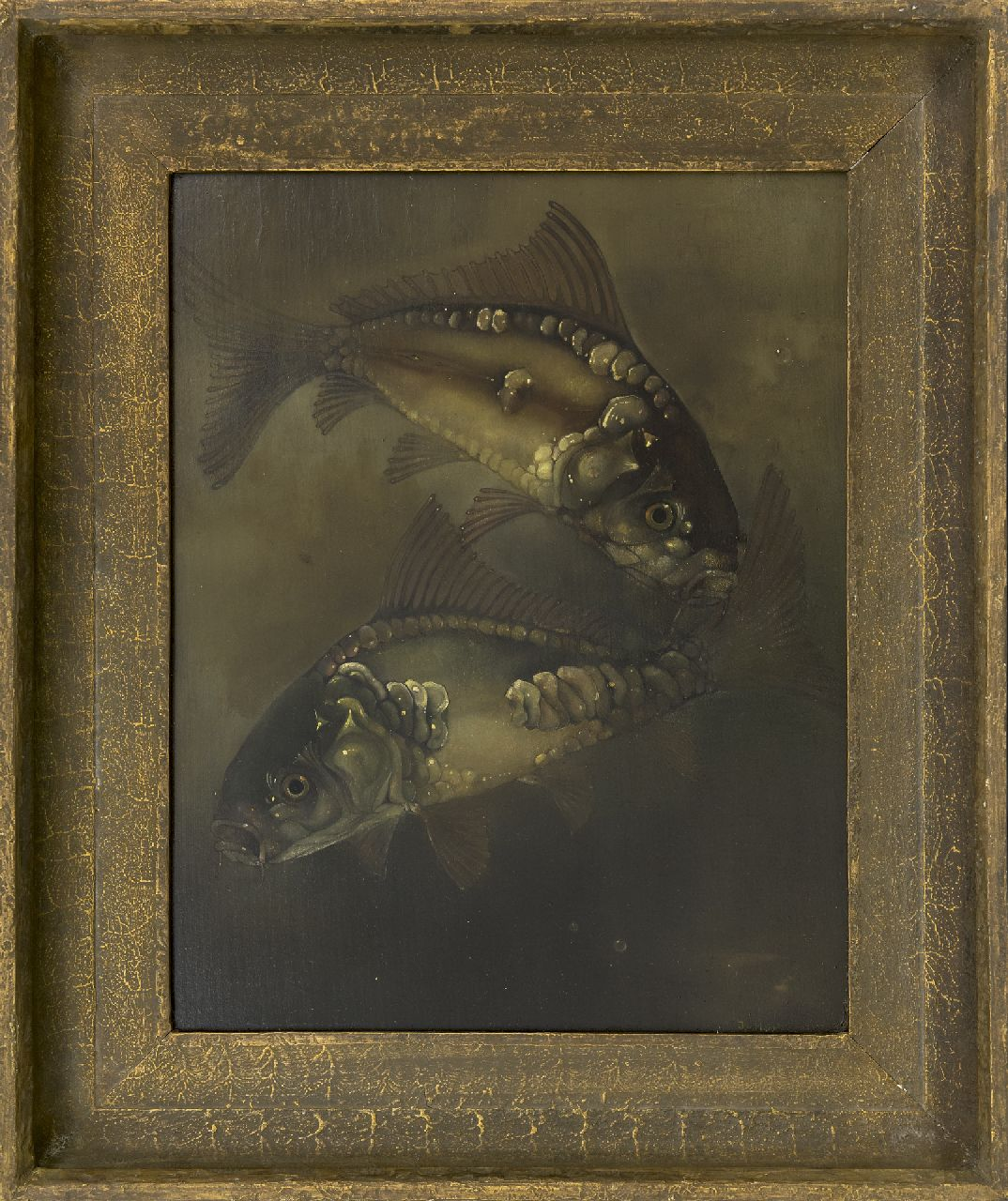 Hoboken J. van | Jacoba 'Jemmy' van Hoboken | Paintings offered for sale | Mirror carps, oil on panel 40.2 x 32.3 cm, signed l.r. and dated 1932